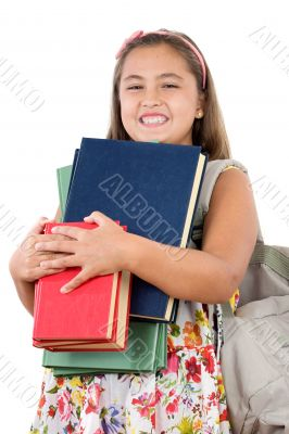 Busy student with many books