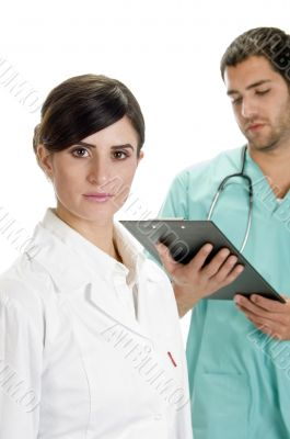 posing medical professionals with stethoscope