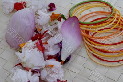Pink Lotus Flower Petals and colored bangles