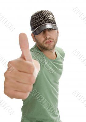 caucasian man showing thumb