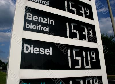 High gasoline prices at a german gas station