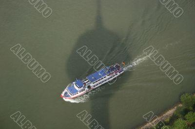 Ship and river Rhine in Düsseldorf, Germany