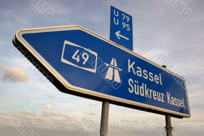 Autobahn direction sign to Kassel, Germany