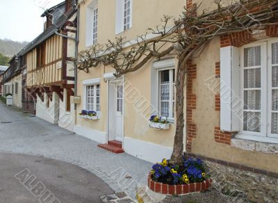 Street from small houses in the French province