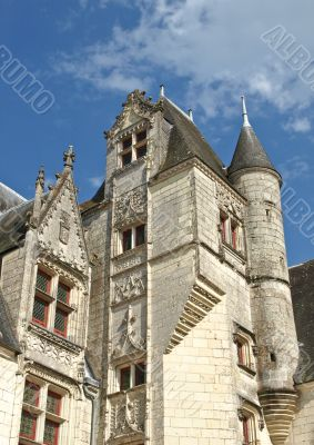 Surprising medieval castle in France, in a sunny day