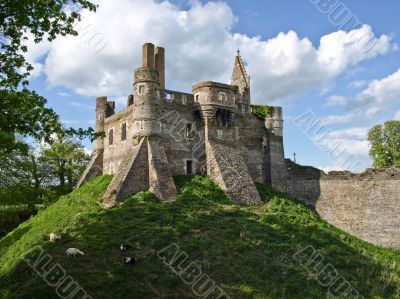 Ruins of medieval castle on a hill under which goats are grazed