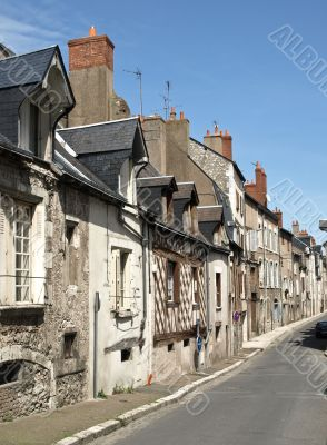 Old medieval street in the French small town