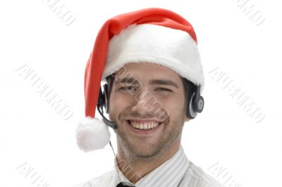 happy businessman posing with headset