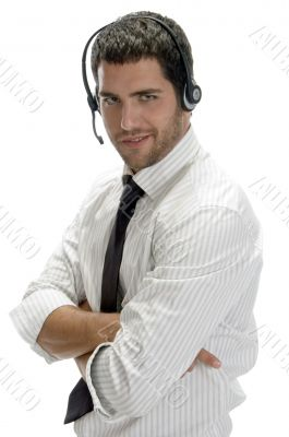 happy successful professional man with headset