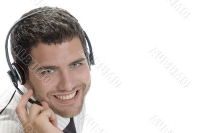 caucasian man wearing headset