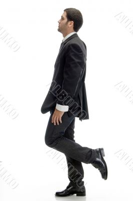 stylish businessman walking