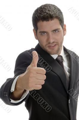 businessman showing thumb