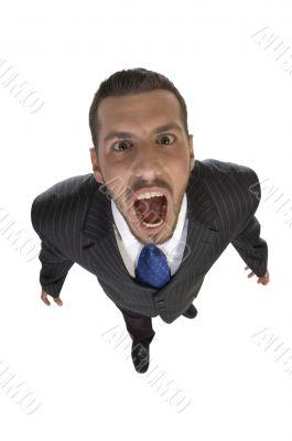 shouting man looking upward