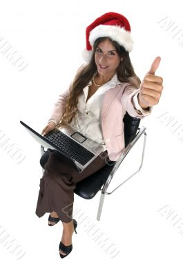 businesswoman wishing good luck
