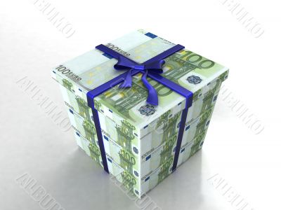 three dimensional gift wrapped in euro bills
