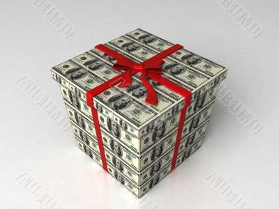 three dimensional gift wrapped in dollar bills
