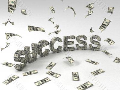 three dimensional success banner made