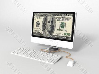 three dimensional computer with 100 dollar bill