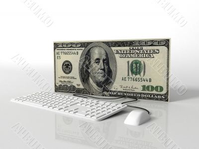 three dimensional computer with 100 dollar bill