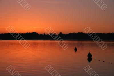 Red sunrise at lake Chiemsee, Germany