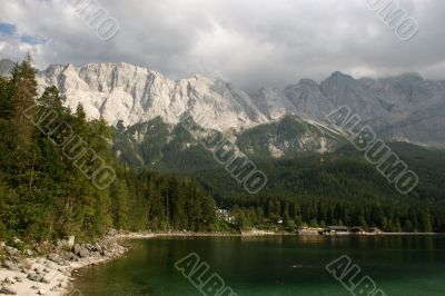 The summits of Zugspitze massif, german Alps