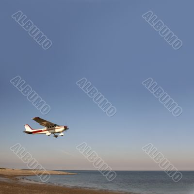 Starting airplane over sea
