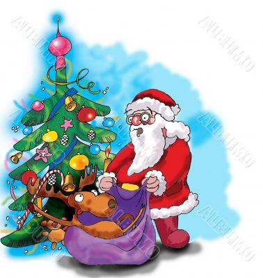 Deer, Santa Claus and Christmas tree