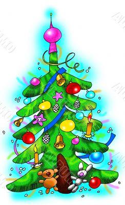 Fine decorated Christmas tree