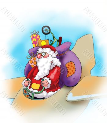 Santa Claus with his presents on the plane