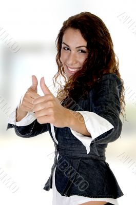 woman showing thumb`s up