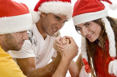 models doing arm wrestling