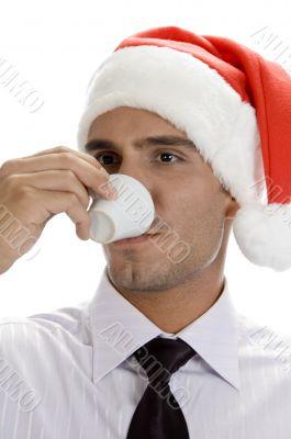smart male drinking tea