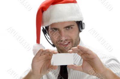 santa man showing his visiting card