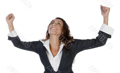 woman with raising hands