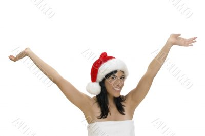 happy smart woman with raised hands