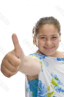 smiling girl wishing good luck