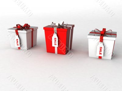 three dimensional wrapped gift boxes