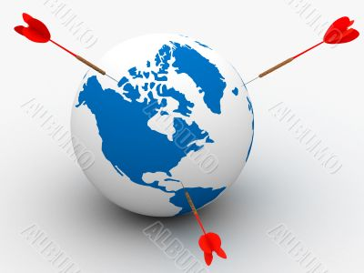 Globe and darts. 3D image. Isolated illustrations