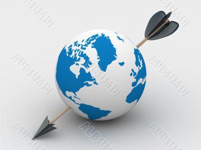 globe pierced with an arrow. 3D image.