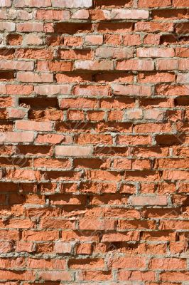 Red old brick wall structure