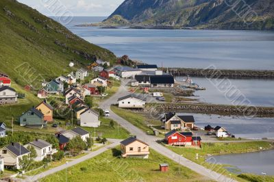 small norwegian fisher`s village