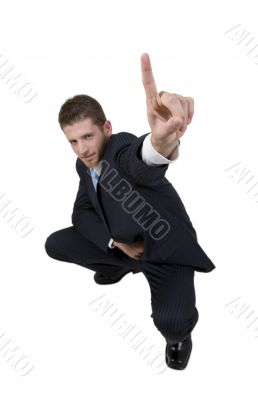 male pointing upward