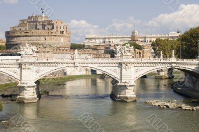 Bridge and Castle Sant Angelo in Rome