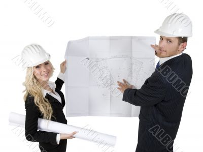 engineers reviewing blueprint