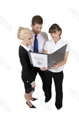 business people discuss report