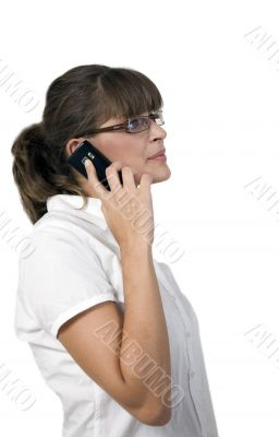 business lady busy on mobile phone