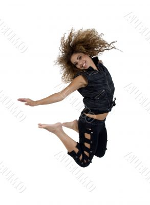 young female jumping high