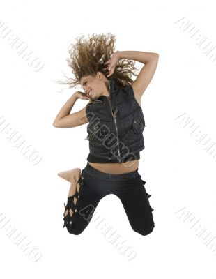 beautiful young lady jumping