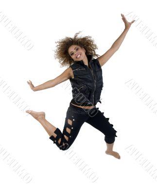 glamorous lady jumping