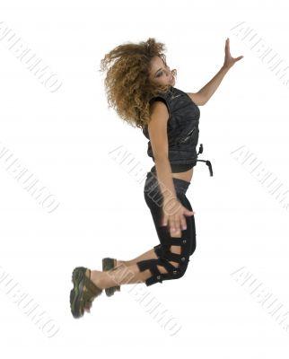 female jumping high